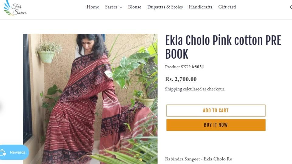 Ekla Cholo Pink Cotton Saree.  (forsarees.com)