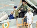 Prime Minister Narendra Modi in MiG-29K cockpit onboard INS Vikramaditya in June 2014.