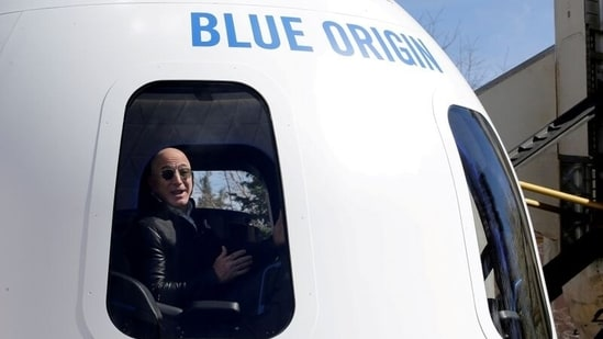 Amazon and Blue Origin founder Jeff Bezos addresses the media about the New Shepard rocket booster and Crew Capsule mockup at the 33rd Space Symposium in Colorado Springs, Colorado, United States. (REUTERS)