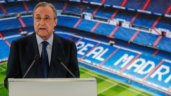 Real Madrid's President Florentino Perez gives a speech at the Santiago Bernabeu stadium in Madrid. (AP)