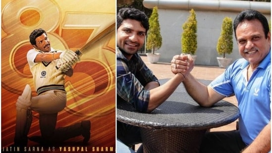 (Left) Jatin Sarna as Yashpal Sharma in a poster of 83 and (right) the two during the film's prep.