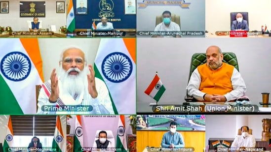 Prime Minister Narendra Modi interacts with chief ministers of northeastern states on Covid-19 situation via video conferencing in New Delhi, on Tuesday, July 13, 2021. (PTI)