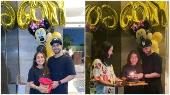 Neha Kakkar celebrates with Rohanpreet Singh.