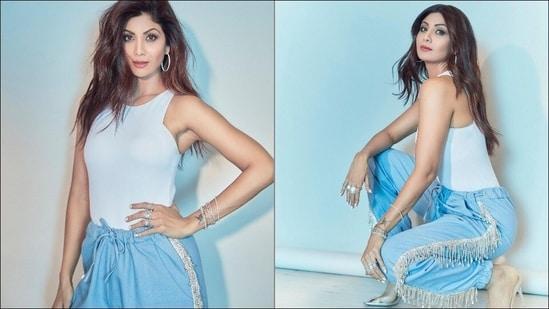 Shilpa Shetty flatters casual lockdown style in <span class='webrupee'>₹</span>13k denim crystal fringe pants, white spaghetti top(Instagram/theshilpashetty)