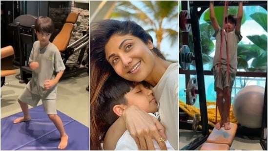 Shilpa Shetty's son Viaan sweats it out at gym, Shamita calls him her motivation(Instagram/@shamitashetty_official)