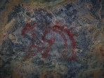 A specimen of recently discovered paleolithic cave paintings in the Aravalli Range in Haryana, India. (Photo by Sanchit Khanna/ Hindustan Times)(Sanchit Khanna/HT PHOTO)
