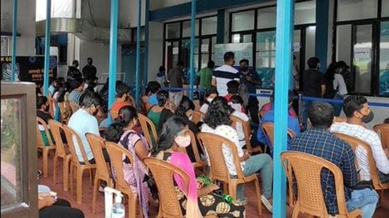 Beneficiaries wait to get a dose of Covid-19 vaccine in south Goa district. (File photo)