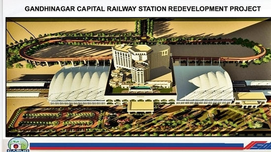 A screenshot of the model of Gandhinagar capital station, India's first railway station redeveloped through PPP.(HT Photo)