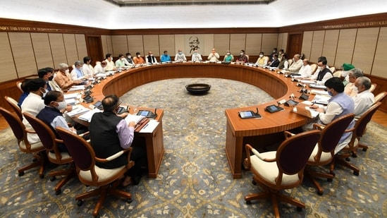 Prime Minister Narendra Modi chairs the first in-person Union Cabinet meeting since April 2020, in New Delhi on Thursday.(PTI)