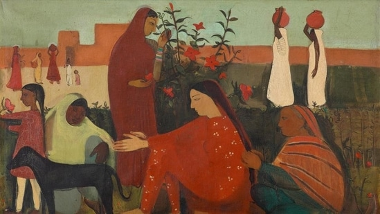 A 1938 oil on canvas by Amrita Sher-gil titled In the Ladies Enclosure. (Sourced)