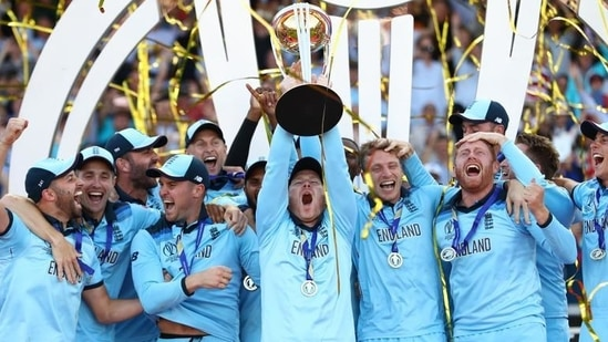 England captain Eoin Morgan lifts the ICC World Cup trophy during the Final of the ICC Cricket World Cup 2019 between New Zealand and England at Lord's Cricket Ground on July 14, 2019 in London, England.(Getty Images)