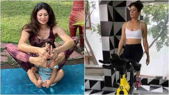 Pooja Batra does yoga with her nephew then sweats it out at gym, we are inspired(Instagram/@poojabatra)