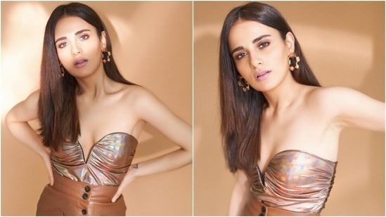 Radhika Madan in metallic bustier and leather skirt glams up for stunning shoot(Instagram/@sukritigrover)