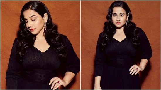 Vidya Balan in chic maxi and bold red lips says black dresses are a mood, we agree(Instagram/@balanvidya)