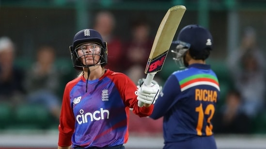 England's Danni Wyatt celebrates her half-century(REUTERS)