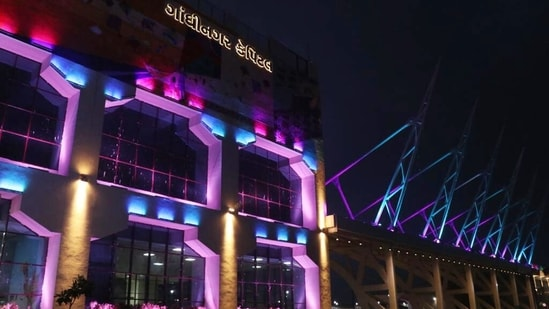 The external facade dons a state-of-the-art theme-based lighting that can be changed daily to make the ambience more delightful, the Union railways ministry said.(ANI)