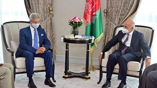 External Affairs Minister Dr. S. Jaishankar calls on president of Afghanistan Ashraf Ghani, in Tashkent(ANI Photo)