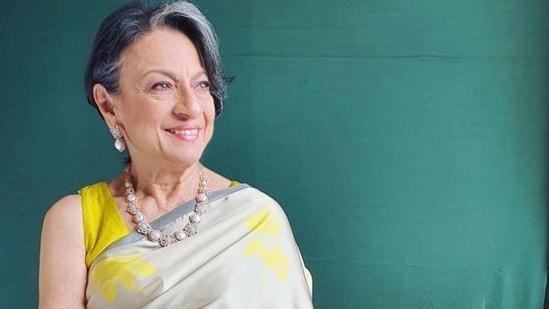 Tanuja looked like the epitome of grace in a digitally printed Shamo satin saree by designer Sameera Dalvi's brand Moresha.  (Instagram)