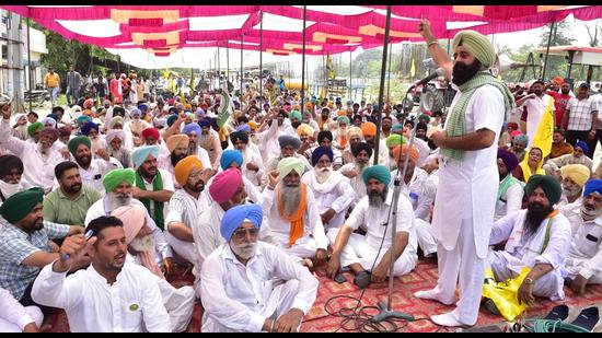 Farmers during a protest in Ludhiana on Thursday.