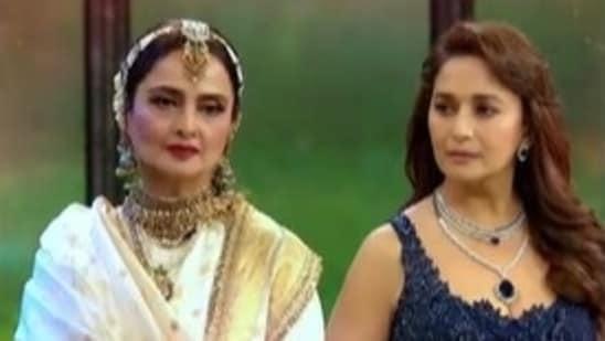 Rekha and Madhuri Dixit in a Dance Deewane 3 promo.