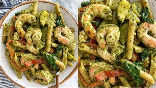 Recipe: Shrimp pesto penne packs herby and fresh flavours in just 20 minutes(Instagram/winniesbalance)
