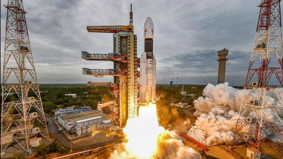 India's second Moon mission Chandrayaan-2 lifts off onboard GSLV Mk III-M1 launch vehicle from Satish Dhawan Space Center at Sriharikota in Andhra Pradesh in 2019. (Representational image/PTI)