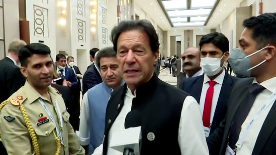 Pakistan Prime Minister Imran Khan speaks to the media, in Tashkent on Friday.(ANI Photo)