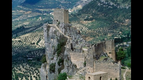 La Iruela Castle with olive groves in the background, Andalusia, Spain. (De Agostini via Getty Images)