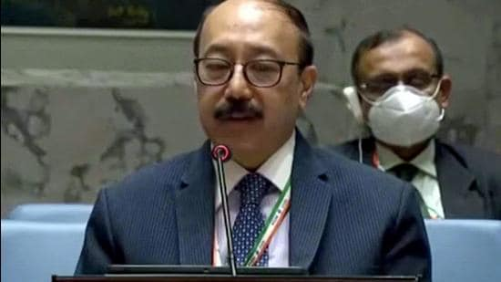 Foreign secretary Harsh Vardhan Shringla at UNSC briefing on 'Protection of Civilians in armed conflict: Preserving humanitarian', in New York on Friday. (ANI)