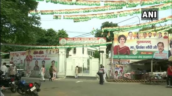 Posters and banners welcoming Congress general secretary Priyanka Gandhi Vadra, put up around party's office in Lucknow. She is arriving in the city on Friday, on a three-day visit. (ANI)