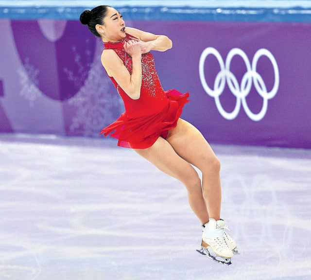 American ice skater Mirai Nagasu was the first to successfully perform a Triple Axel, a move first incorporated by Norwegian Axel Paulsen in 1882 but now upgraded three times. It's one of the hardest moves to execute in the sport. (Getty Images)
