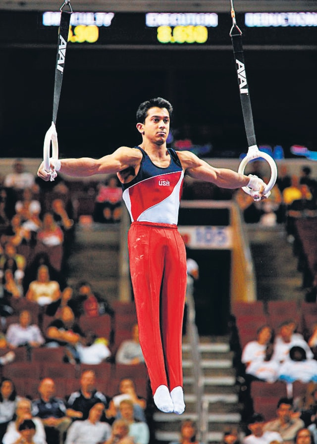American gymnast Raj Bhavsar has two moves named after him, on the parallel bars and the still rings. (Image courtesy RajBhavsar.com)