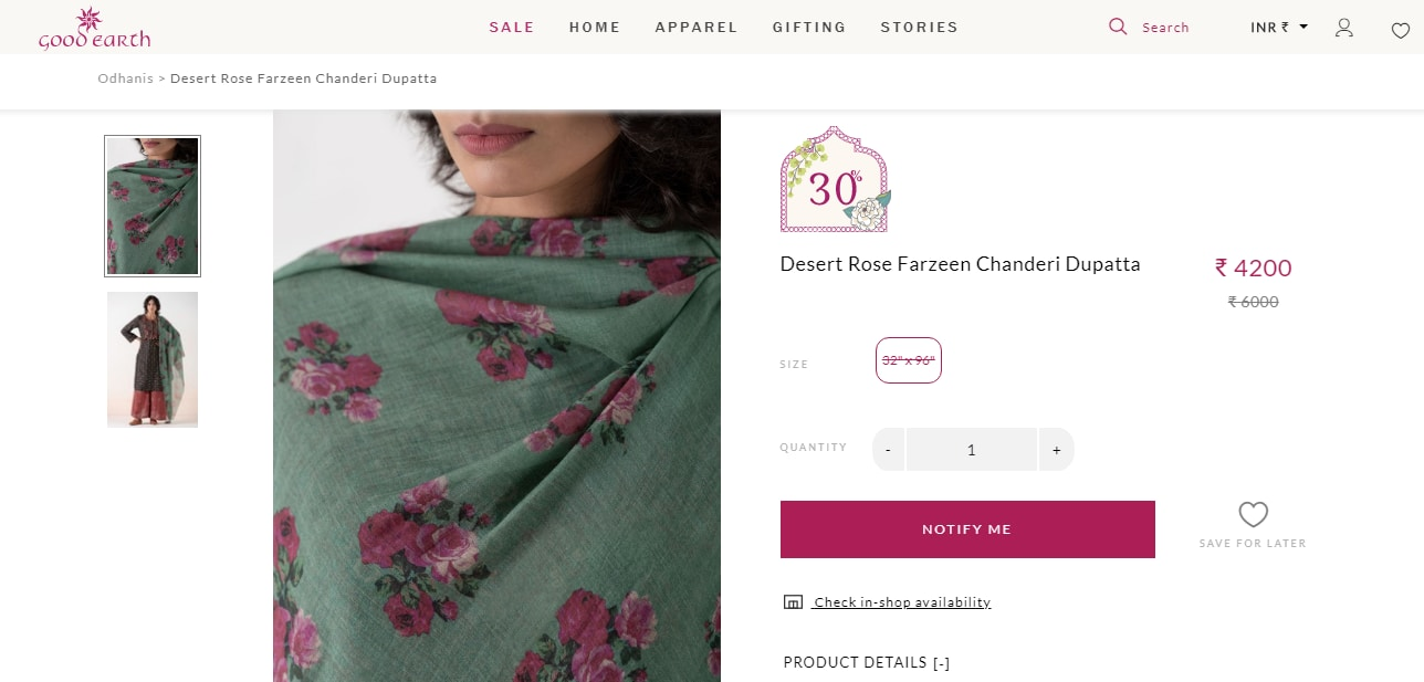 The dupatta of Mira Rajput from Good Earth (goodearth.in)