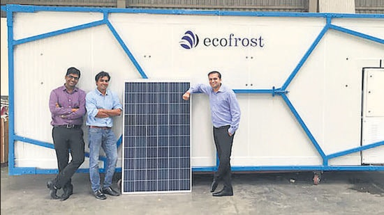 From left: Prateek Singhal, Vivek Pandey and Devendra Gupta, founders of Ecozen. The Pune-based agri-tech startup empowers farming sector through technology and perishables-friendly marketplace (HT)
