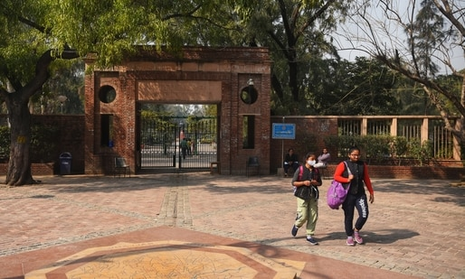 Students outside the University Plaza after Delhi University reopened for final year students in New Delhi, earlier this year.( Amal KS / Hindustan Times)