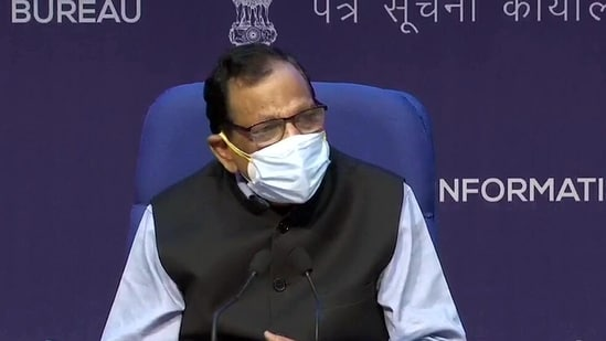 Member of NITI Aayog (Health) Dr. VK Paul addresses a press conference in New Delhi on Saturday. (ANI)
