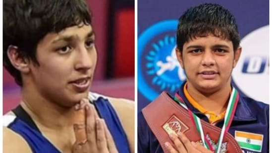 Tokyo Olympics: The tale of Anshu (LEFT) and Sonam Malik, young members of India's wrestling squad.(HT COLLAGE)
