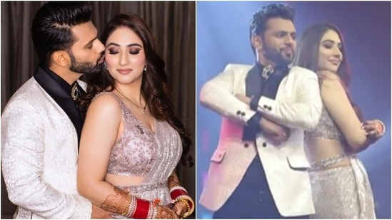 Disha Parmar dances the night away with Rahul Vaidya in sequin saree during reception(Instagram/@israniphotography)