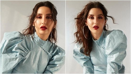 Nora Fatehi is ultra glam in <span class='webrupee'>₹</span>23k leather mini dress and bold red lips, see pics and video(Instagram/@norafatehi)