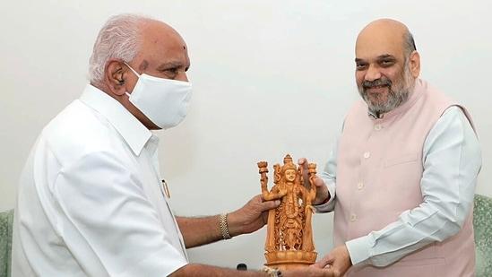 Karnataka chief minister BS Yediyurappa calls on Union home minister Amit Shah in New Delhi on Saturday.(Photo via @BSYBJP on Twitter)