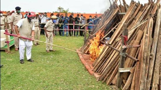 On Sunday, Assam CM Himanta Biswa Sarma burnt 10 kg of heroin, 253 kg of cannabis, 977 gm opium, over 271,000 psychotropic substances. (Courtesy- Twitter)
