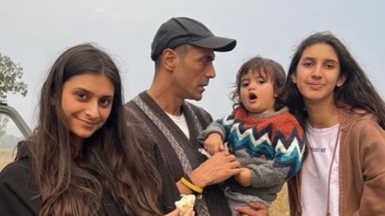 Arjun Rampal with his three kids -- Arik, Mahikaa and Myra.