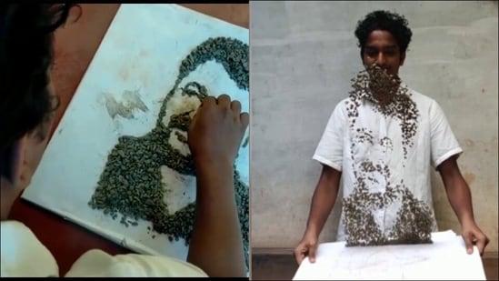 Kerala artist creates six-second portraits in air using stones(Twitter/ANI)