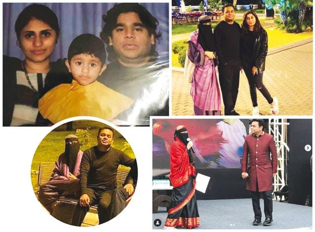 (Clockwise from left) A childhood picture of Khatija and her parents, AR Rahman and Saira Banu; with her father and sister Rahima (inset); sharing the stage with the musical maestro