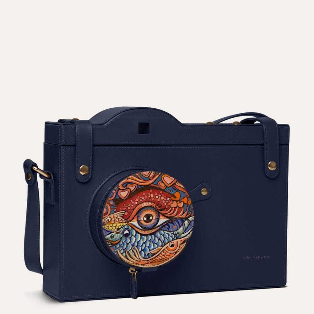 The eye-catching hand painted leather messenger bag by Paul Adams