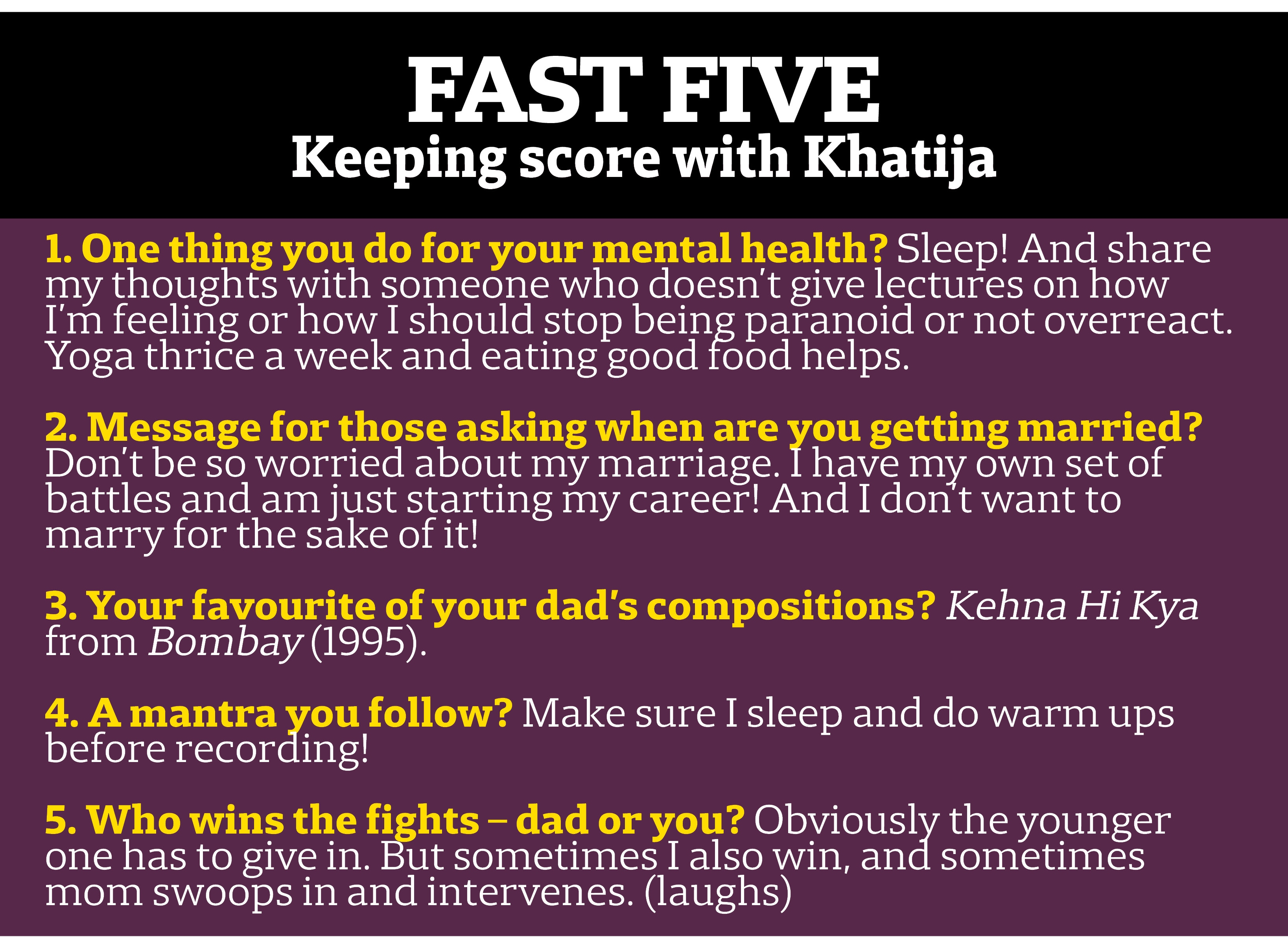 Quick questions with Khatija