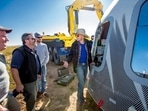Jeff Bezos and others inspect Crew Capsule of Blue Origin in this file photo.(AP)