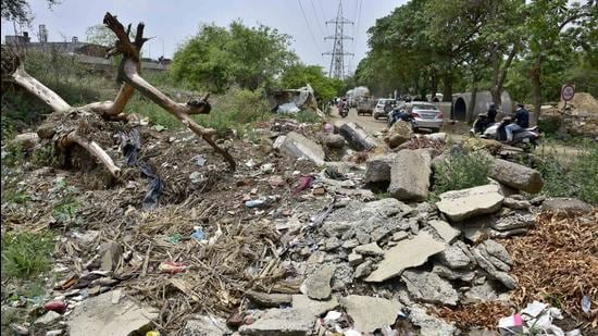 Construction and demolition waste in green belts of Model Town in Ludhiana on Monday. (Gurpreet Singh/HT)