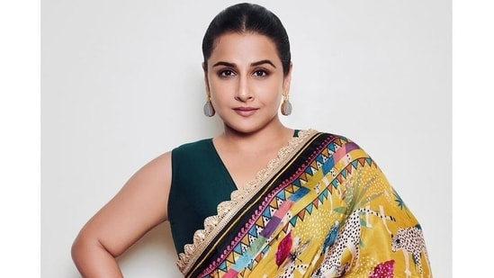 """Vidya couldn't help but quip in the caption, """"I am told I am knotty!"""" The saree was first seen on Vidya in late June when she was promoting Sherni.(Instagram)"""