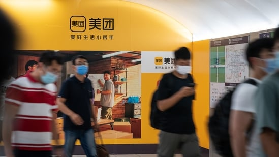 A Meituan advertisement inside a subway station in Beijing.(Bloomberg)